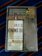 Vintage Buck Knives Buck Honing Kit with oil can and 2 sharpening stones