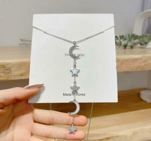 Tassel White Moon Star Pave Cubic Zirconia Silver/Gold Pendant Long Necklace