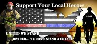 8x4 Red+Blue Lives Matter Support Police & Firefighter Car Bumper Sticker Decal: