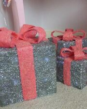 Pre-Lit Christmas Gift boxes Pink/Silver