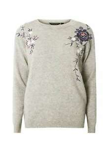 Dorothy Perkins Floral Embroidered Oversized Jumper Size 16 BNWT RRP £31.95 Grey