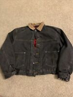 Vintage Polo Ralph Lauren Jean Jacket Flannel Lining Corduroy Collar Leather Tag