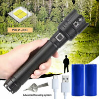 Bright XHP90 LED Flashlight 26650 USB Rechargeable Zoom Torch Light XHP50 Lamp