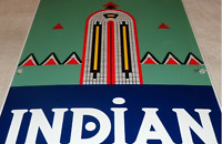 "VINTAGE RARE INDIAN GAS 18"" X 12"" PORCELAIN METAL GASOLINE & OIL SIGN PUMP PLATE"