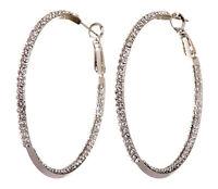 "Swarovski Elements Crystal 2"" Baha Hoop Pierced Earrings Rhodium Authentic 7215z"