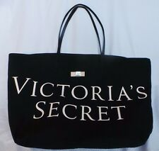 Victoria's Secret Fashion Large Black Canvas Iconic Tote Shoulder Bag Pink Bow