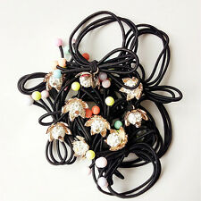 2p Girls Elastic Hair mix l bowknot Band Rope Ponytail Bracelets scrunchie 8076
