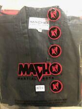 Macho Karate Uniform Gi Black w/ White Belt - Size 3