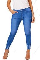 NEW Plus Size 16 18 20 22 24 26 Womens Blue Skinny Stretch Jeans Hem Frayed