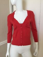 Rosie Neira Anthropologie Coral Red Cotton Blend Cropped Cardigan Sweater Sz M