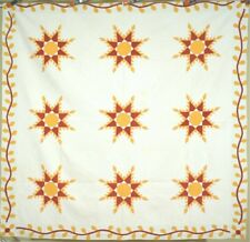 MUSEUM QUALITY 1870's Vintage Feathered Stars Antique Quilt ~AMAZING QUILTING!