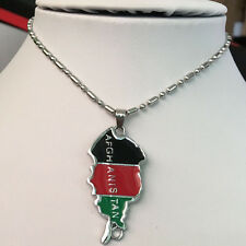 Afghanistan Map And National Flag Pendant Necklace Black Red Color Green Mix