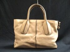 Auth TOD'S D-Bag Beige Leather Handbag w/ Dust Bag and Shoulder Strap