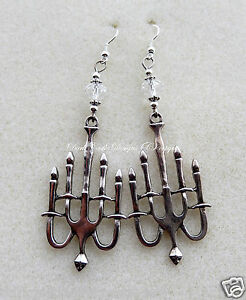 pair silver plated Candlelabra Chandelier earrings wiccan pagan goth Steampunk