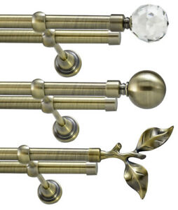 Metal Double Eyelet Extendable Curtain Pole Rod Antique Brass 19mm Without Rings