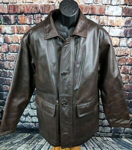 Wilson's Thinsulate Insulated Brown Heavy Duty Leather Winter Jacket Mens Medium