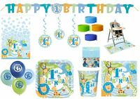 1st First Birthday Boy Jungle Safari Blue Tableware Party Decoration Animal