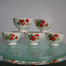 Lot 5 ANCIENS BOLS BOCH 60's Vintage Belgian ceramic coffee breakfast BOWLS Set