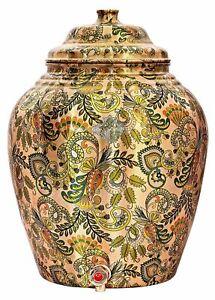 Printed Design Copper Water Dispenser Pot Matka 13 L Light Brown