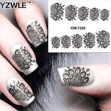 Black & White Peacock Design Nail Art Sticker Decal Decoration Manicure