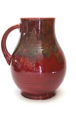 Vintage CROWN DUCAL Jug & Bowl Set With Deep Maroon Glazes Art Deco Era Ceramics