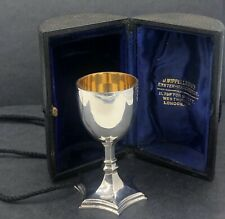 More details for sterling silver travelling chalice in fitted case london 1939