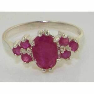 English Made Hallmarked Solid Sterling Silver Rare Large 8x6mm Natural Ruby Ring