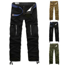 Herren Winter Cargo Combat Dicke Baumwolle Hose Tasche plissiert Warm AT WORK
