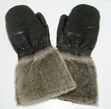 Vtg Wolverine Gauntlet Motorcycle Snowmobile Leather Fur Mittens Zip Close Large