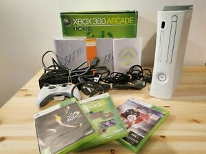 XBOX 360 ARCADE rare white console 60gb, controller + 3 games FULLY TESTED