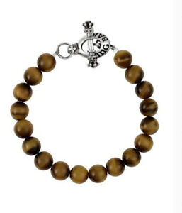 King Baby Studio 10mm Brown Tiger Eye Bead Bracelet W/silver Toggle Clasp