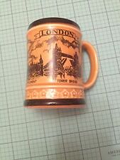 London Souvanier Mug Yellow With Black Trim  Images Of Tower Bridge Piccadilly C