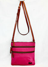 DOONEY & BOURKE Triple Zip Nylon Crossbody Pink Raspberry