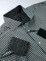 Bugatchi Classic Fit Mini Circular Check Sport Shirt Black White $179