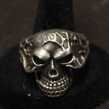 Skull Ring Large Biker Movable Mouth Sterling Silver size 12