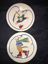 Set of 2 Feline Festivities by Porta Portugal Salad Dessert Plate Cats Skating