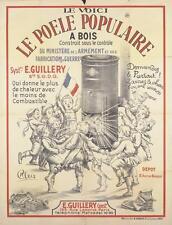 "1910s FRENCH WWI ORIGINAL WAR POSTER ""LE POELE POPULAIRE A BOIS"" CHLEIS (Bloc)"