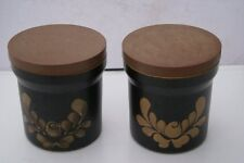 DENBY BAKEWELL TWO MEDIUM STORAGE JARS AND LIDS   (S56)