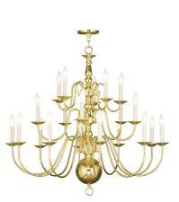 20 Lights Foyer Livex Polished Brass Williamsburg Chandelier Lighting 5019-02