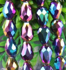 30pc 8x12mm Multicolor Crystal Teardrop Gems Loose Bead