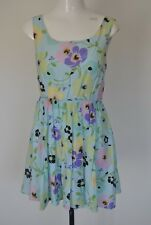 Blue floral summer pretty circle summer holiday party dress size 10 Butterfly