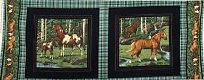 "Quilt Fabric Horses Cranston Print Pillow  Panel  18"" x 44"""