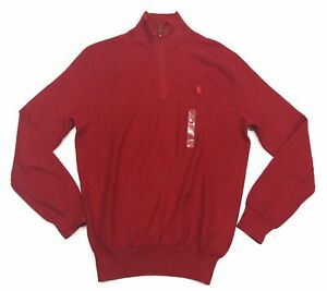 Polo Ralph Lauren Men's Red 1/4 Zip Neck Pullover Pima Cotton Sweater
