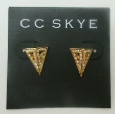 Gold Plated CC SKYE Fortress Triangle Stud NEW EARRINGS CZ Pyramid