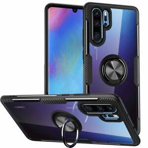 Huawei P30 Pro Case Clear Carbon Fiber Design With Ring Grip Holder Stand Black