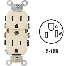 100 Pk Leviton 15A Ivory 2 Pole 3 Wire 5-15R Duplex Electric Outlet S01-CR15-0IS