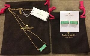 Kate Spade Moon River Bow Necklace & Earrings - Mint Color With Gold