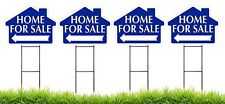 Home For Sale - BLUE - House Shaped Sign Kit with Stands - 4 Pack(K-S111-4PK)