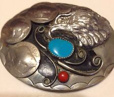 Very DetailedTurquoise Coral Eagle Belt Buckle With Three Buffalo Nickels