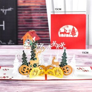 Christmas Forest Merry Christmas Pop Up Card Xmas Tree Dears Winter Gift Item